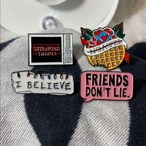 Stranger Things movie 4 piece stick pins logo New